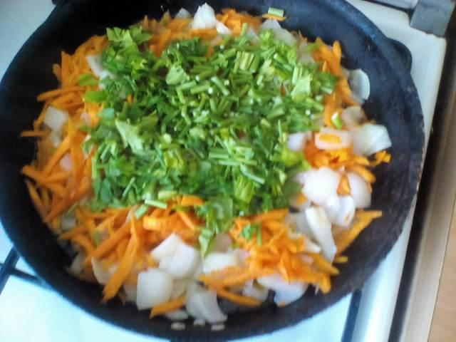 Лук морковь и зелень