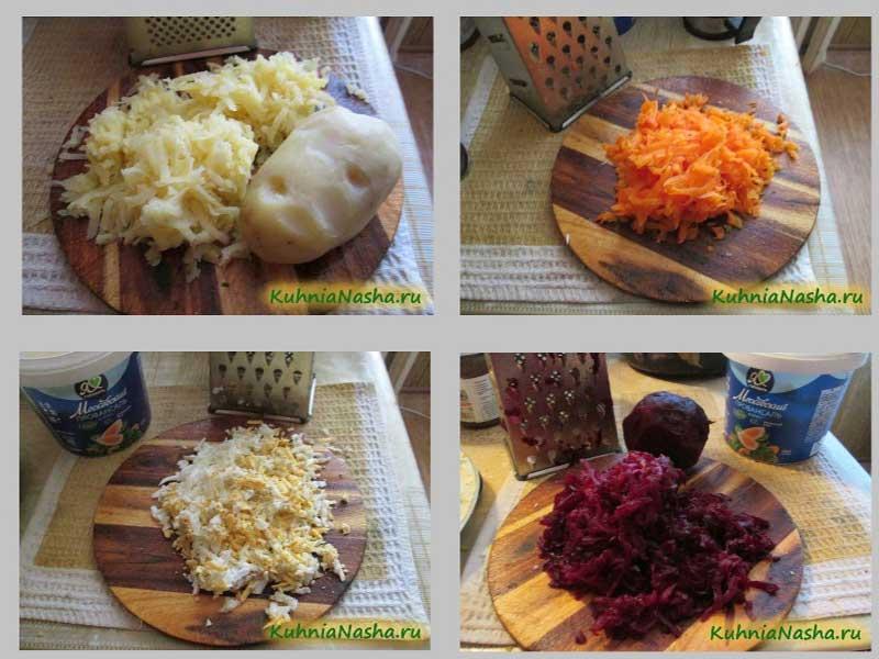Натертые овощи и яйца