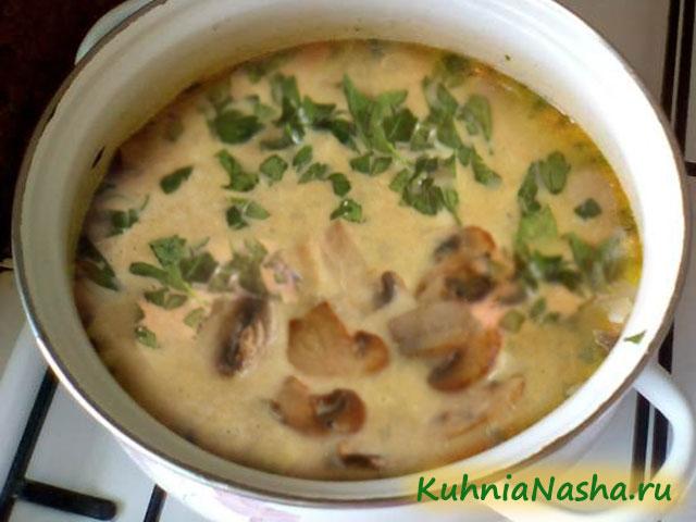 Готовый луковый суп с грибами