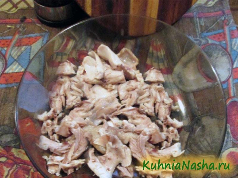 Порезаное куриное мясо