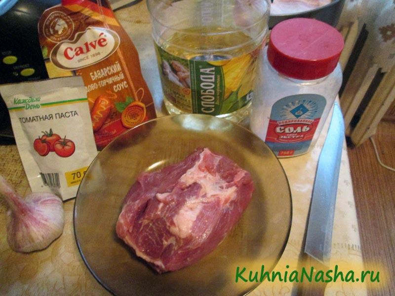 Ингредиенты для свинины в медово-горчичном соусе