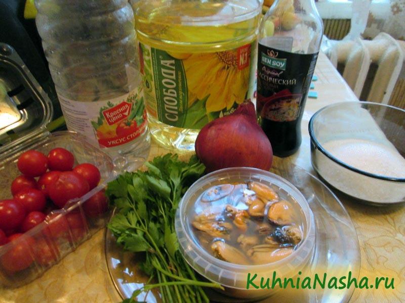 Ингредиенты для салата с мидиями
